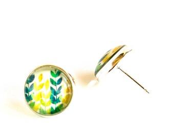 Colorful leaves earrings, Leaves Earrings, Leaf Earrings, Leaf Jewelry, Leaves Jewelry, Leaf Earring Studs, Glass Stud Earrings