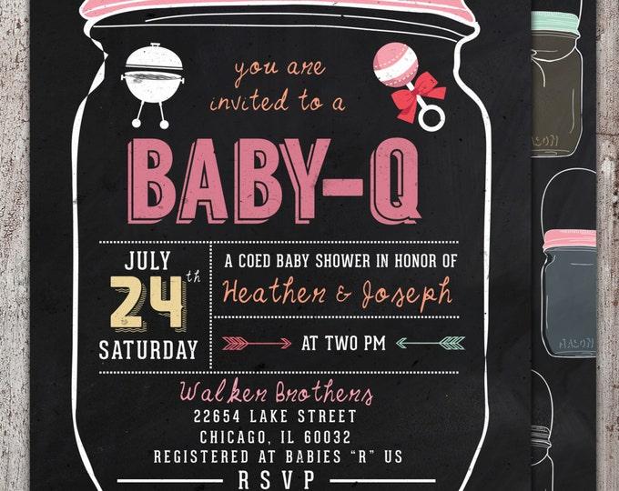 BABY Q Invitation - BabyQ Baby Shower Invitation - Backyard BBQ Invite - Co-Ed Baby Shower Invite - Digital File - Printable