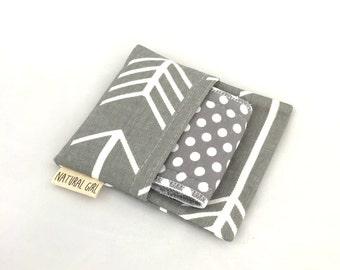 Natural Girl re-usable modern cloth sanitary menstrual pads. x1 Regular pad with purse wrapper. Grey print.