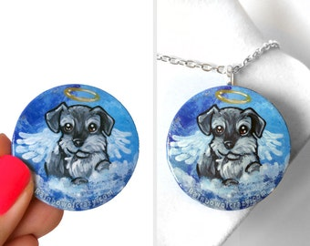 Dog Painting, Miniature Schnauzer, Pet Pendant, Angel Necklace, Animal Art, Hand Painted Wood Jewelry, Memorial Gift for Her, Keepsake