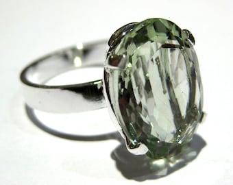 presiolite green quartz ring silver 925%