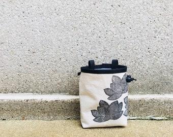 chalkbag, chalk bag, rock climbing chalkbag, chalkbags, linoprint, chalkbag, handcarved, blockprint, rock climbing, lotus, floral, flowers