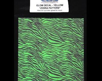 Zebra Glow in the Dark Decal. Glass Decal Sheet. Ceramic Decals. Glass Decals. Glass Fusing, Glass Blowing, Lampworking, Ceramics Supplies