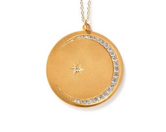Gold moon and Star Medallion Necklace