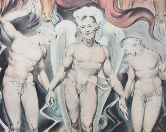 1947 Expulsion from Eden, William Blake illustration from Paradise Lost, Original Vintage Art Print, 13 x 17 inches