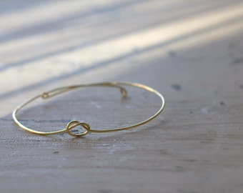 Tie The Knot Bangle, Gold Knot Bracelet, Love Knot Bracelet, Bridesmaid Gift, Gold Bangle Bracelet