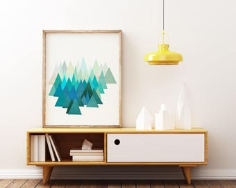 Mountain Print, Abstract Landscape Art, Blue Geometric Print - Cold Mountain