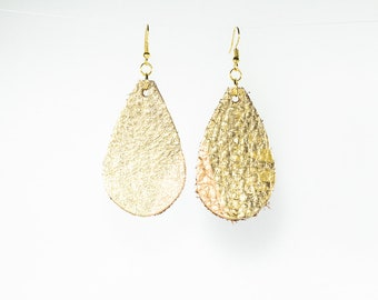 Leather Raindrop Earrings - Medium - Gold and Rose Gold