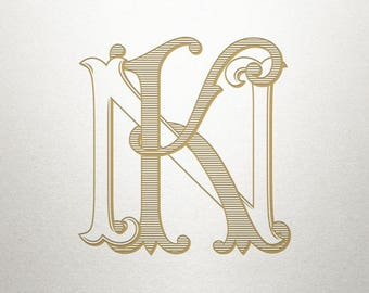 Vintage Monogram Design - KN NK - Vintage Monogram - Digital