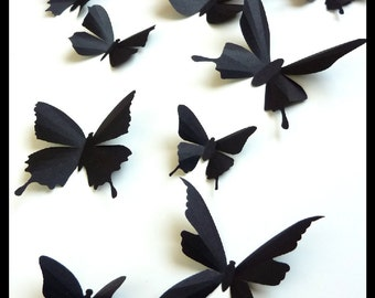 3D Wall Butterflies - 20 Assorted Black Butterfly Silhouettes, Home Decor, Nursery, Wedding