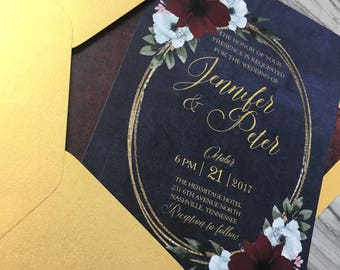 Navy and Gold Floral Wedding Invitation, Invite, Custom, Invitation Suite, Elegant, Calligraphy, Modern, Luxury, Fall   Deposit