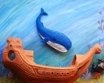 Cute whale toy felt whale felt underwater animals whale figure plush whale felted whale blue whale toy kid's toy educathional toy