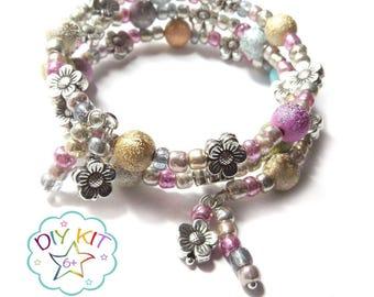 "DIY Bracelet, DIY Jewellery Kit, ""Floral Sparkle"" beading kit, Wrap Bracelet Kit, diy jewlry kit, stardust beads, kids jewelry kit"