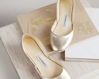 The Metallic Ballet Flats in Gold | Wedding Shoes | Pointe Style Shoes | Classic Model | Standard Width | Gold | Ready to Ship