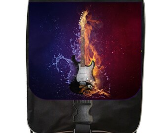 Fire and Water Guitar - Black School Backpack & Pencil Bag Set