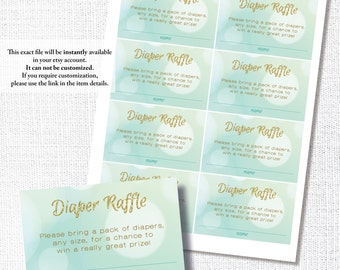 READY TO POP blue green yellow diaper raffle insert card diaper ticket diy instant digital download printable file gold glitter baby shower