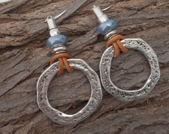 Bohemian Leather & Bead Earrings