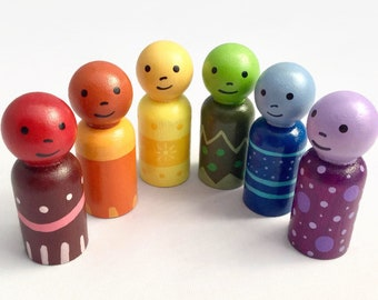 Rainbow Peg Dolls - Wooden Peg Dolls - Ready to Ship - Peg Doll Gift Set - Color Dolls