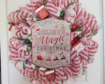 Believe in Magic Christmas wreath.