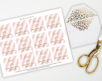 Cream & Pink  Stripe with Gold Glitter Font Thank You Tags.  Bridal or Baby Shower Labels Thank You Tags.