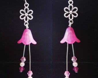 Fuchsia pink bellflower earrings- sterling silver hooks - handmade-  pink earrings - flower earrings - wedding - pretty - Mother's Day gift