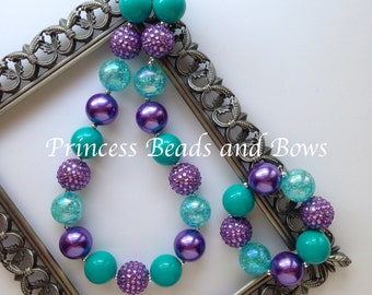 Purple and Teal Chunky Necklace and Bracelet,  Purple and Teal  Necklace, Girls Bubble Gum Necklace, Chunky Necklace Girls Photo Prop