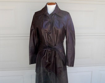 Vintage Leather Trench Coat, Oxblood, 1970's Full Length Coat by Great Things Size Small