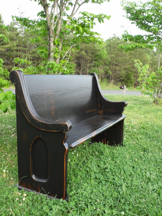 62 Black Wooden Church Pew