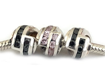 Zig Zag Charm Bead Large Hole Sterling Silver Black Pink Cubic Zirconia