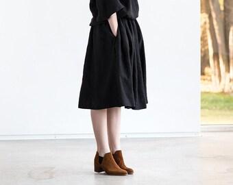 Linen - wool blend skirt with deep pockets / A - line washed skirt / Midi  skirt / High waist skirt in black linen - wool