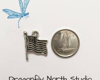 USA flag charm - American flag charm - flag charm - antiqued silver tone charm