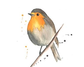 Robin - watercolour - art - gift - unframed - original - A4