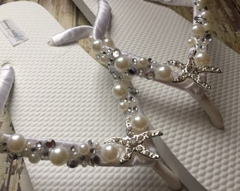 Shoshanna Starfish Bridal Flip Flops, Custom Flip Flops, Dancing Shoes, Nautical Bridal Sandals, Wedding Flip Flops, Beach Wedding Shoes