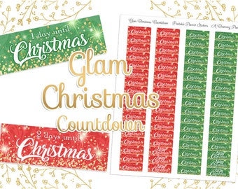 Glam Christmas Countdown - Printable Planner Stickers - Instant Download