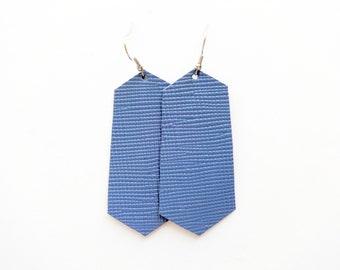 Denim Blue Leather Earring / Large Earring / Geometric Earring / Statement Earring / Diffuser / Long Earring / Lightweight / Small