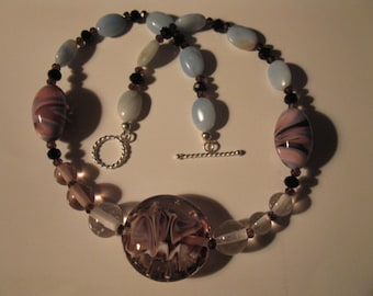 Necklace lampwork glass & amazonite beads, sterling