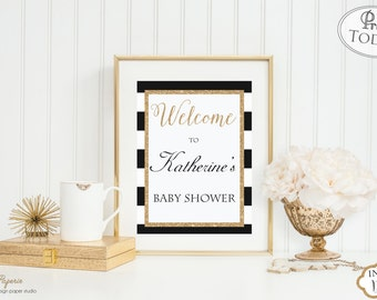 INSTANT DOWNLOAD - Black & White Stripe Gold Glitter Baby OR Bridal Shower Welcome sign - Glitter Shower Sign -Welcome Sign - 0134 - 0152