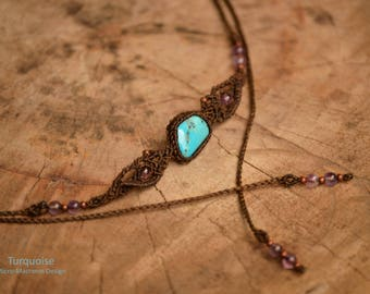 Arizona Turquoise Choker,Macrame Choker,Macrame Necklace,Macrame Turquoise,Headdress,Festival,Fine jewelry,gift idea,Meditation Stone,Tribal