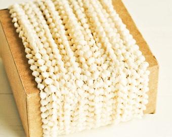 Petite Pom Pom Twine in Cream - 6 Yards - Mini PomPom Christmas Novelty Twine Vintage Ribbon Cord Trim Pretty Petite Party Decor