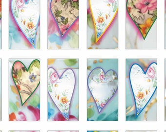 Instant Download - Printable China Heart Tags for embellishment or scrapbooking