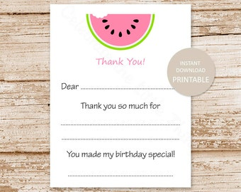 PRINTABLE . watermelon thank you cards . birthday fill in the blank thank you . INSTANT DOWNLOAD