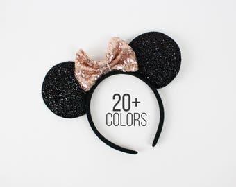 Disney ears | Minnie Mouse ears | Minnie ears headband | Disneyland ears | Mickey Mouse ears | Rose Gold Minnie ears | Choose color