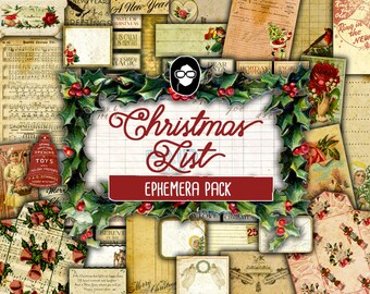 Ephemera Paper pack - Christmas List - 7 Pg Instant Download - junk journal kit, vintage junk journal, Christmas Journal kit, diy journal