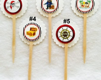 Set of 12 Pirate Cupcake Toppers (Mix and Match any 12)