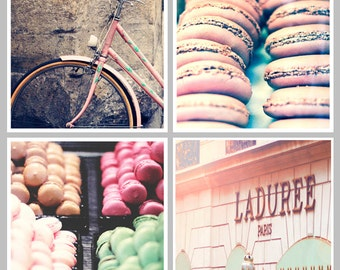 PARIS Collection Set of 4 Paris Prints Paris Photography Square Prints, Mint, Pink, Fushia, Green, Macarons, Bicycle, Laduree, Patisserie