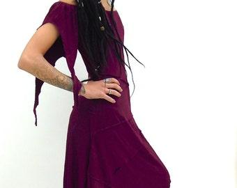 Pixie dress witchy dress psytrance dress Goa clothes woodland goa womens clothing psy festival dress goa fashion midi evening dress
