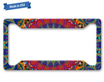 Colorful Kaleidoscope Abstract Paint Pattern  - Auto License Plate Frame - LP1887