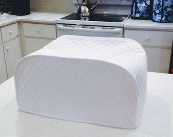 Sale! Sale! Sale! White Toaster Oven Cover White Kitchen Quilted Fabric Small Kitchen Appliance Cover Ready to Ship
