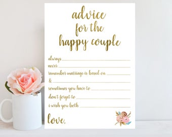 Advice for the Happy Couple, Bridal Shower Advice Cards, Gold Printable, Advice for the Bride and Groom, Wedding Advice Cards BRSG1