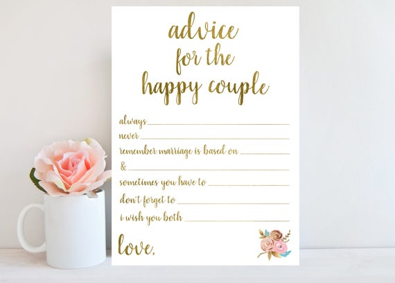 Advice For The Happy Couple Bridal Shower Advice Cards Gold
